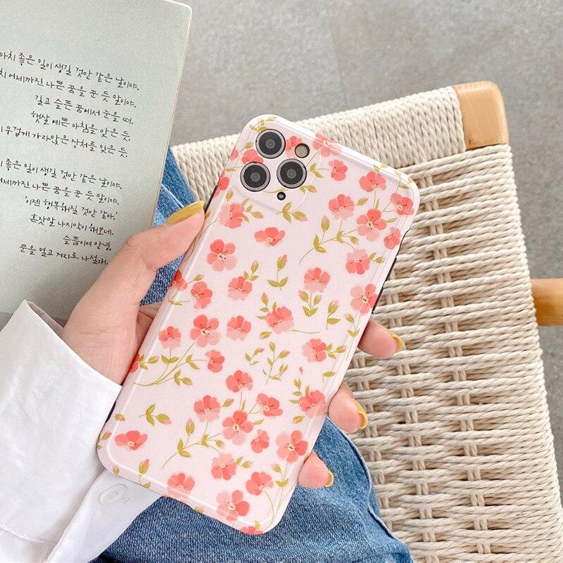Ottwn Kleurrijke Bloemen Telefoon Case Voor Iphone 11 Pro Max X Xr Xs Max 7 8 Plus Se Camera Bescherming silicone Soft Imd Cover