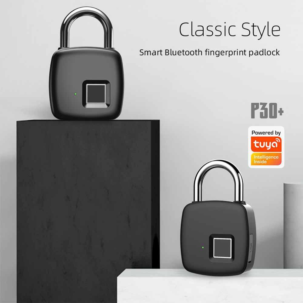 P30 + الذكية قفل ببصمة الأصبع مقاوم للماء اللمس ذكي آمن البيومترية قفل USB شحن اتصال بلوتوث