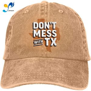 Yellowpods Don't Mess With TX Casquette Baseball Dicer Vintage Adjustable Casquette Cap Cowboy Hat Shading Function Unisex