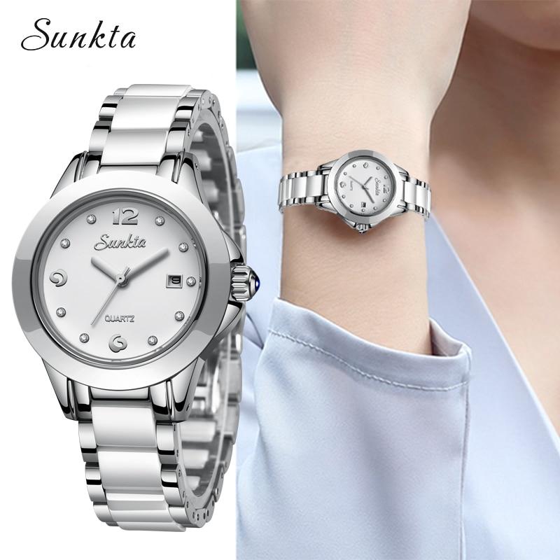 SUNKTA Fashion Elegant Women Watches Silver Women Bracelet Watch Reloj Mujer Simple Casual Quartz Watch For Women Relogio  +Box
