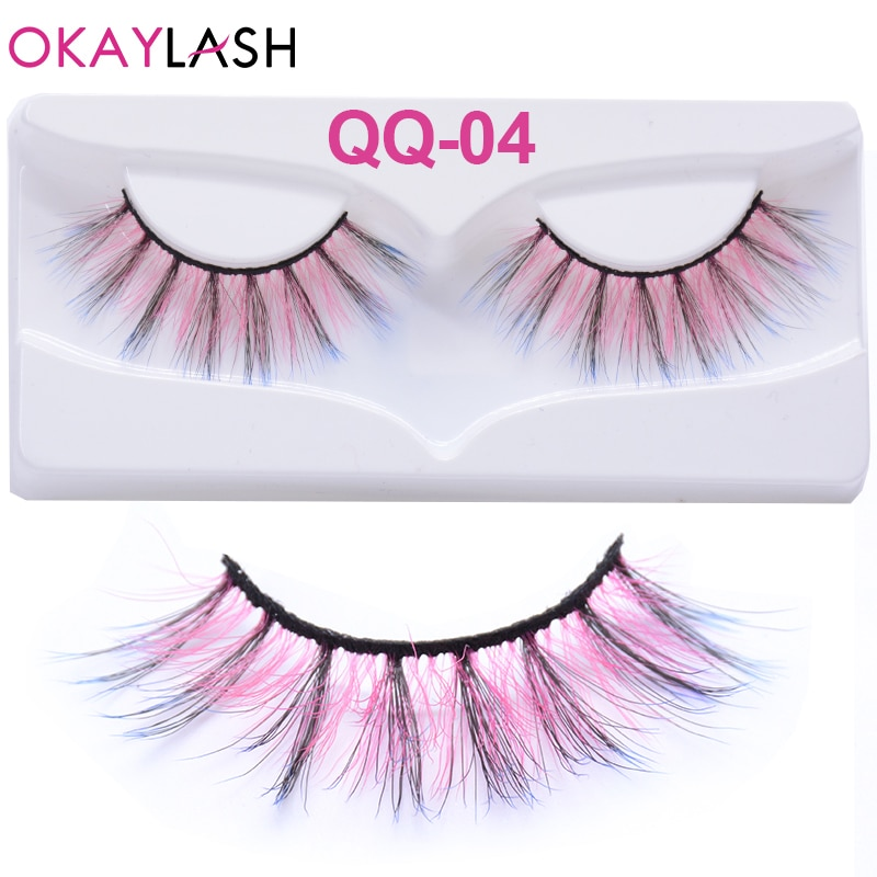 Okaylash cílios postiços cosméticos, cílios falsos rosa de cor vermelha para maquiagem, halloween, festa, cosplay