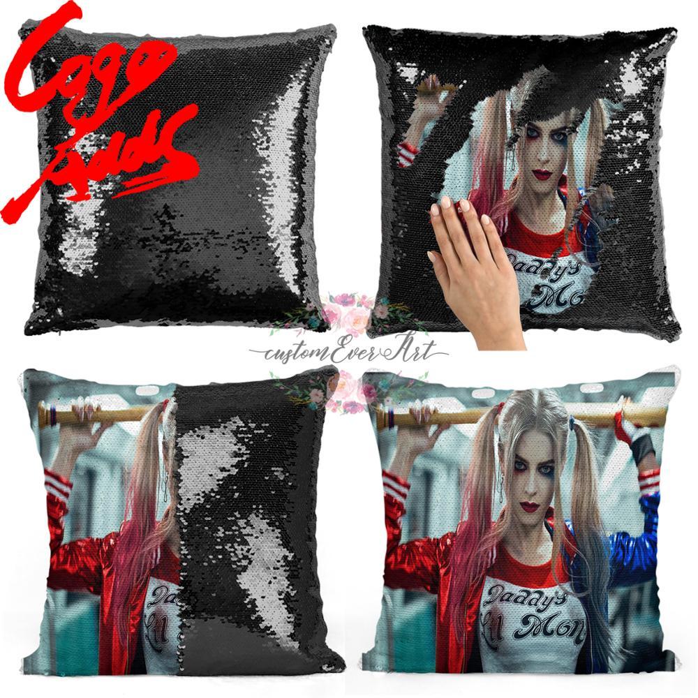 Almohada de lentejuelas Harley Quinn   funda de almohada de lentejuelas   almohada de dos colores   Regalo para ella   Regalo para él   almohada   almohada mágica