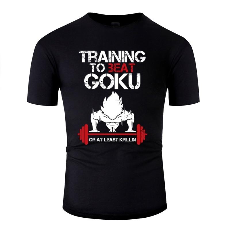 Diseño de la bola del dragón del Super Saiyan formación a vencer a Goku Camiseta para los hombres de algodón sólido básico Camisas camisa