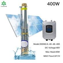 Bomba de agua de pozo profundo, alimentada por energía Solar CC 48V 400W, 2,6 T/H, 40M, sin escobillas con Motor síncrono de imán permanente con controlador MPPT