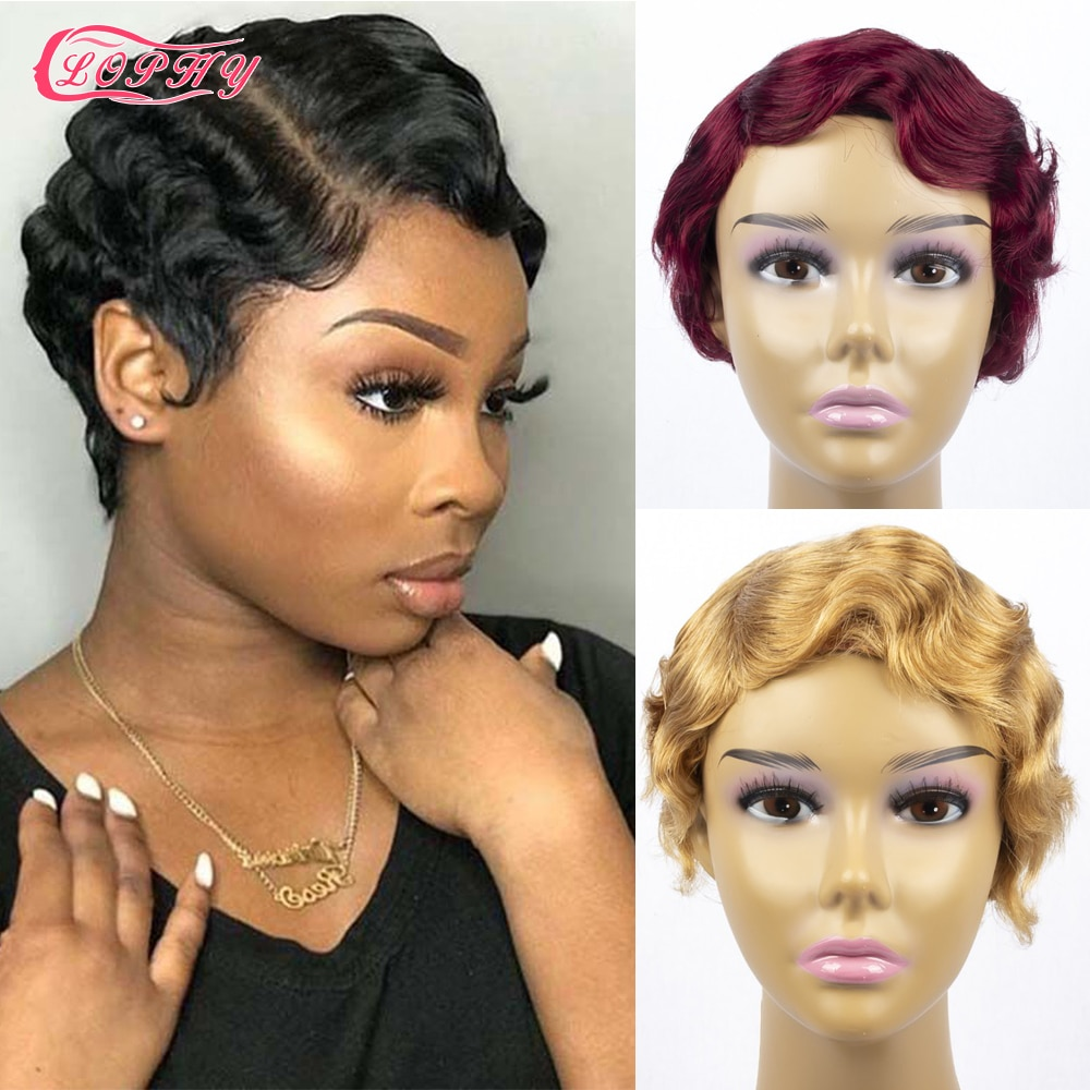 Pixie Cut Wig Short Human Hair Wigs For Black Women Finger Wave Wig Remy Human Hair Wig Cheap Wig With Free Shipping For Party