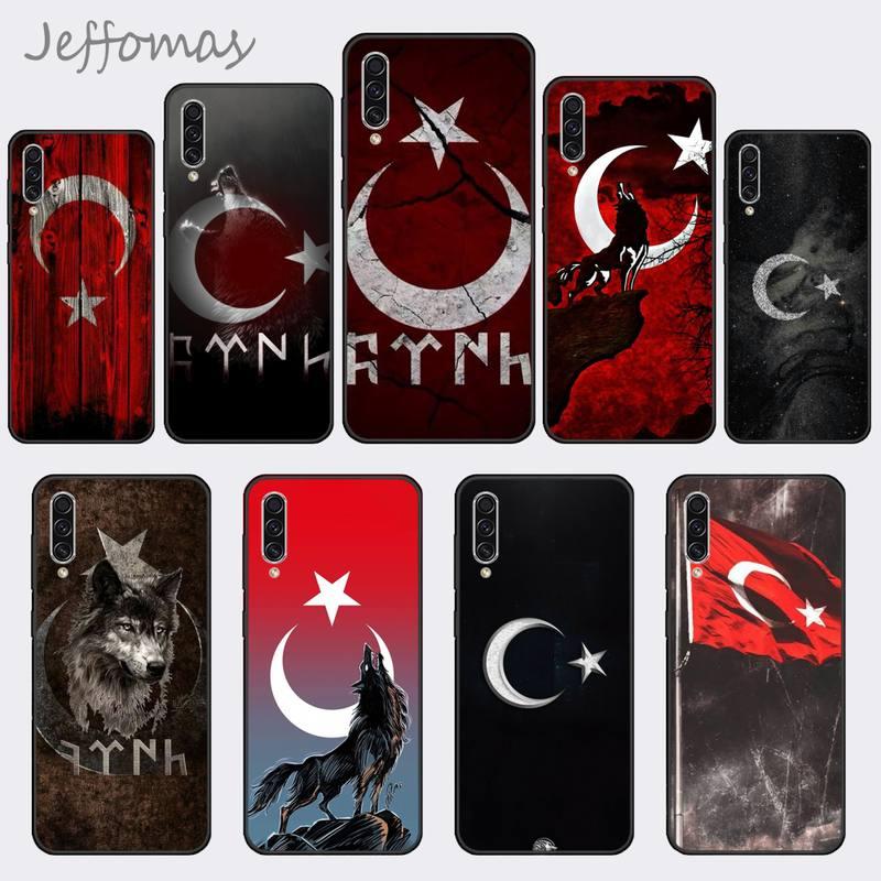 Funda de teléfono suave personalizada con bandera turca de lobo para Samsung A20 A30 30s A40 A7 2018 J2 J7 prime J4 Plus S5 Note 9 10 Plus