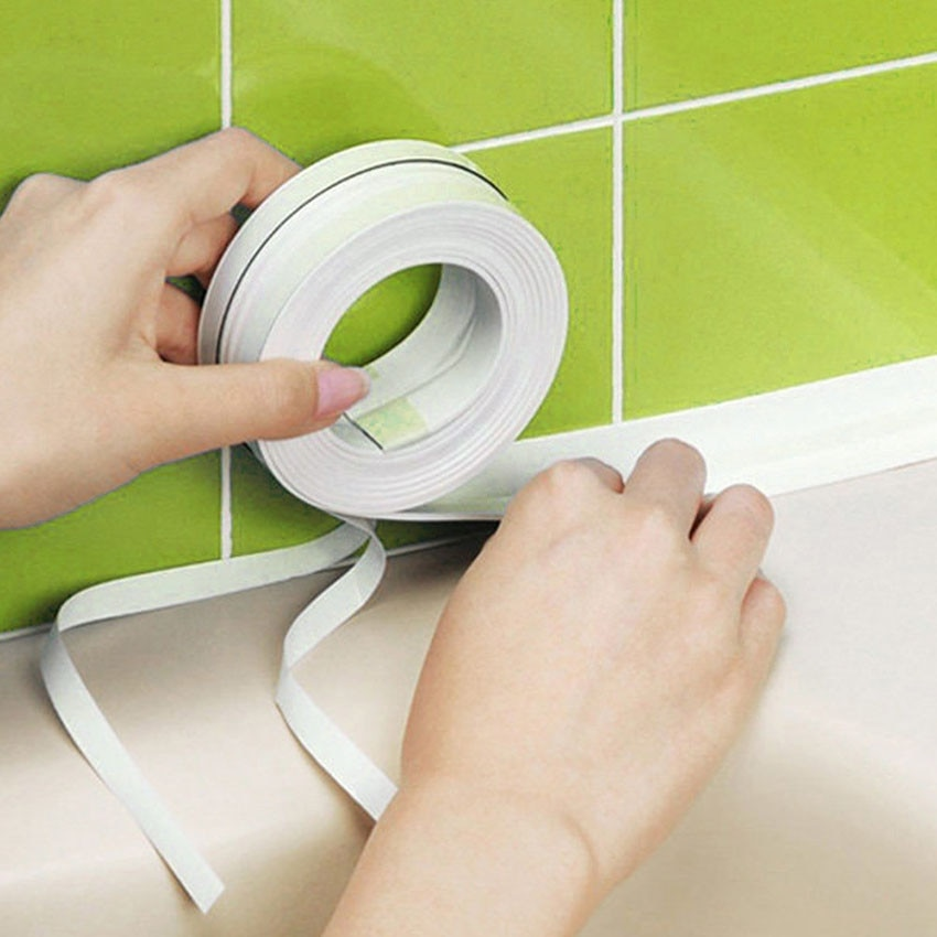 PVC Kitchen Bathroom Crevice Strip Wall Sealing Tape Waterproof Mold Proof Adhesive Tile Crack Repai