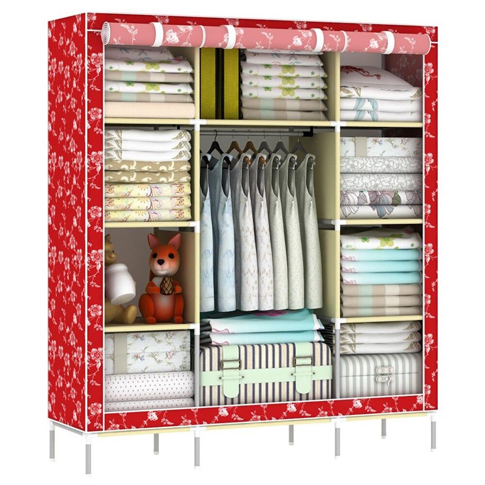 سوبر كبير خزانة المحمولة للطي عززت الملابس خزانة منظم أثاث المنزل