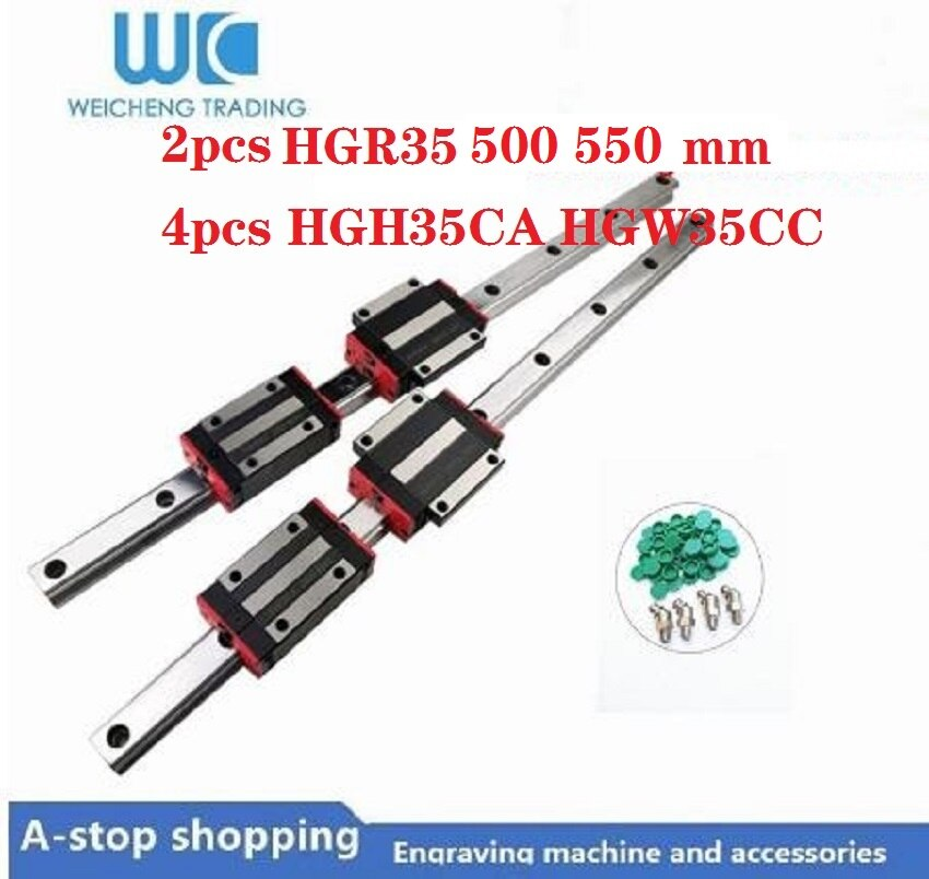 2 uds 35mm carril lineal de guía de HGR35 500 550mm y 4 Uds HGH35CA o HGW35CC lineal guía partes de bloque cnc