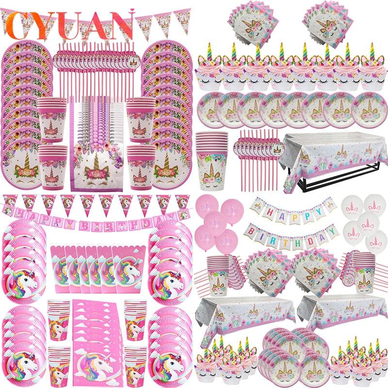 Suministros de fiesta de unicornio CYUAN, placas de banderines de unicornio arcoíris rosa, servilleta, envoltorio de Cupcake, fiesta de bienvenida para el futuro bebé niños, Decoración de cumpleaños