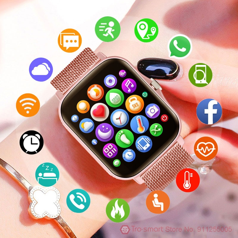 1.7 بوصة Smartwatch النساء شاشة كاملة تعمل باللمس الرجال ساعة ذكية ضغط الدم جهاز تعقب للياقة البدنية الرياضة ساعة مقاوم للماء ساعة ذكية es