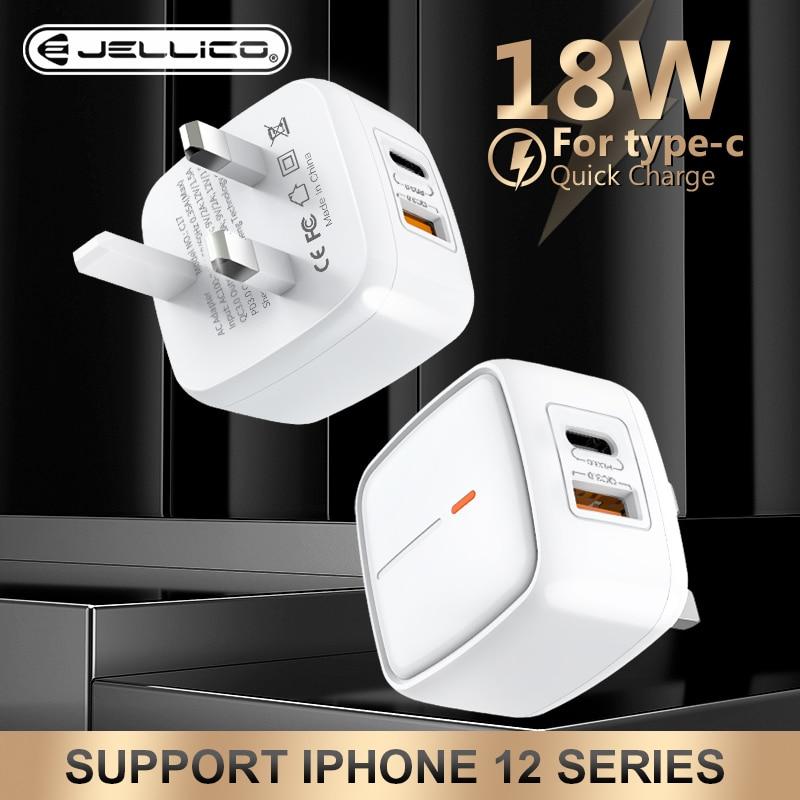 Jellico QC3.0 PD 18 واط المملكة المتحدة التوصيل شاحن USB نوع C شحن سريع محول السفر الجدار شاحن آيفون 12 11 برو ماكس لسامسونج
