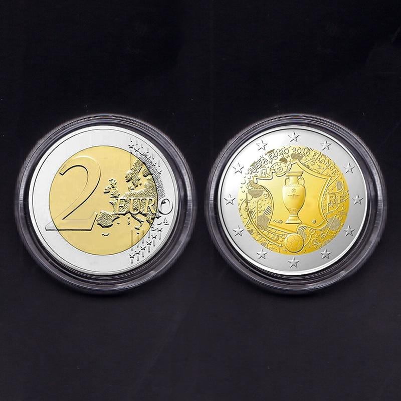 Francia, 2 Euro 2016, juego de fútbol 100%, colección de moneda Original y genuino, comemorativo, Unc raro, 1 Uds., moneda
