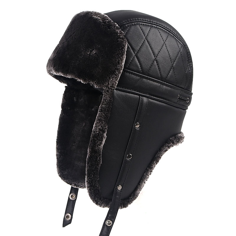 High Quality 2020 Winter Warm Leather Pilot Cap soviet Russian Ushanka Faxu Fur Hats Earflap Bomber