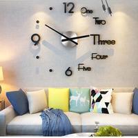 Wall Clock Sticker 3 Color Acrylic Mirror Wall Clock Diy Home Decor TV Background Fashion Wall Stickers Bedroom Self-Adhesive