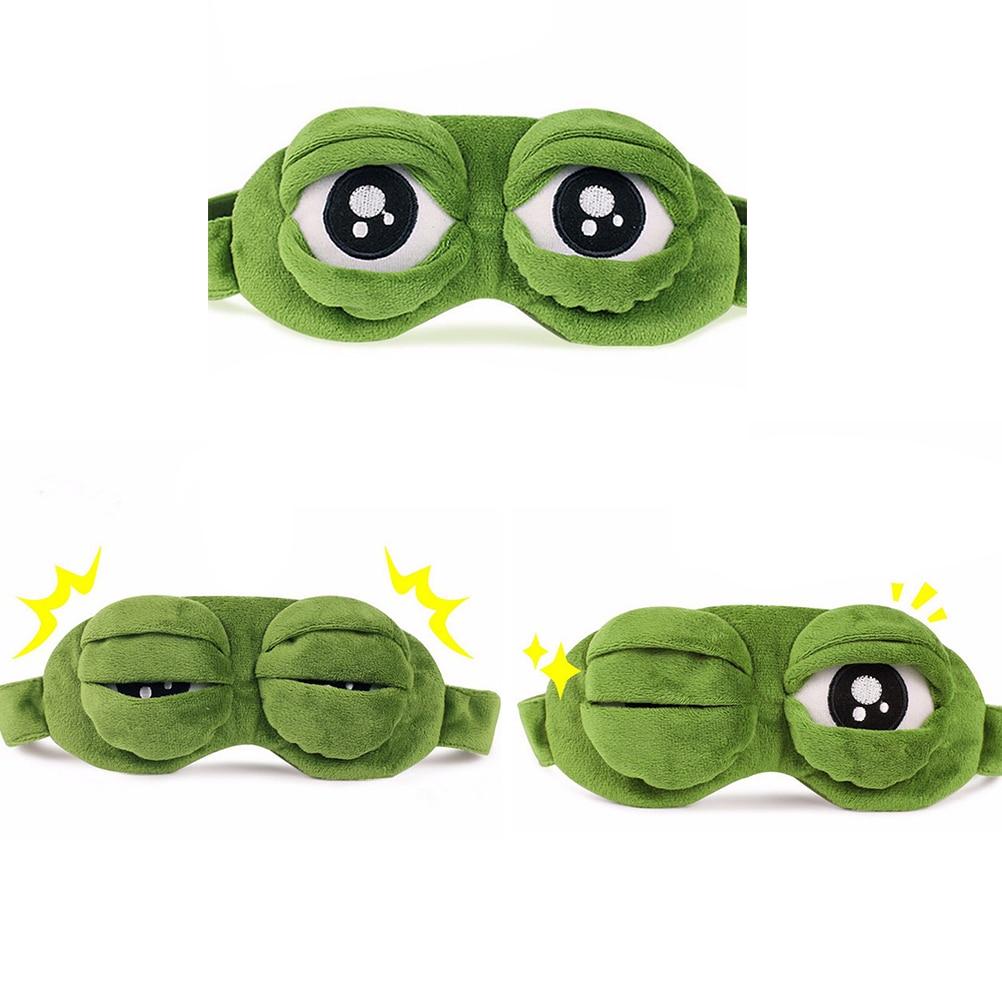 Mascarilla para dormir de rana 3D, cubierta de Ojos de felpa, de viaje, dibujos animados, regalo para dormir