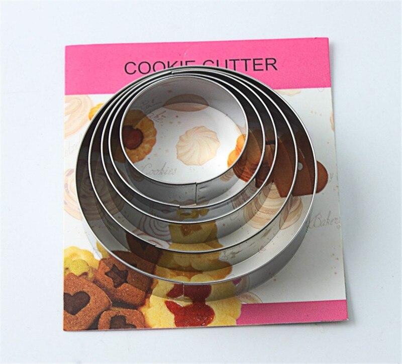 5 unids/set de forma redonda de Metal Cookie cortador utensilios de cocina para horno torta Fondant de cumpleaños molde plantillas para Chocolate para hornear herramientas