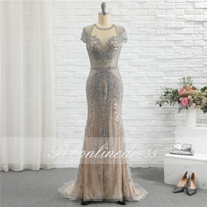 Bbonlinedress Luxury Crystal Beaded Evening Dress Long Mermaid Cap Sleeve Evening Gown Competition Formal Party Dresses