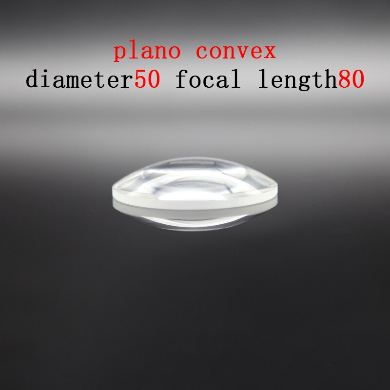 Diameter 50mm Focal Length 80mm Plano-convex Lens Magnifying Optical Glass Lens Prism Processing Plant