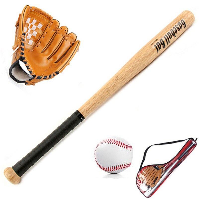 "3 unids/set: 1 bate de béisbol de roble de 25 ""63 cm de largo, 1 guante de PVC de 10,5"" para niños/adultos y 1 bolsa de béisbol estándar de 9"""