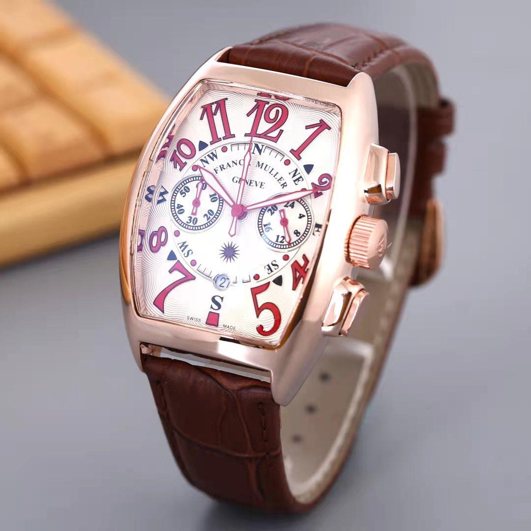 Men's Watches Bucket Shape F Muller Quartz Wristwatch Week Display Leather Top Fashion Brand Luxury