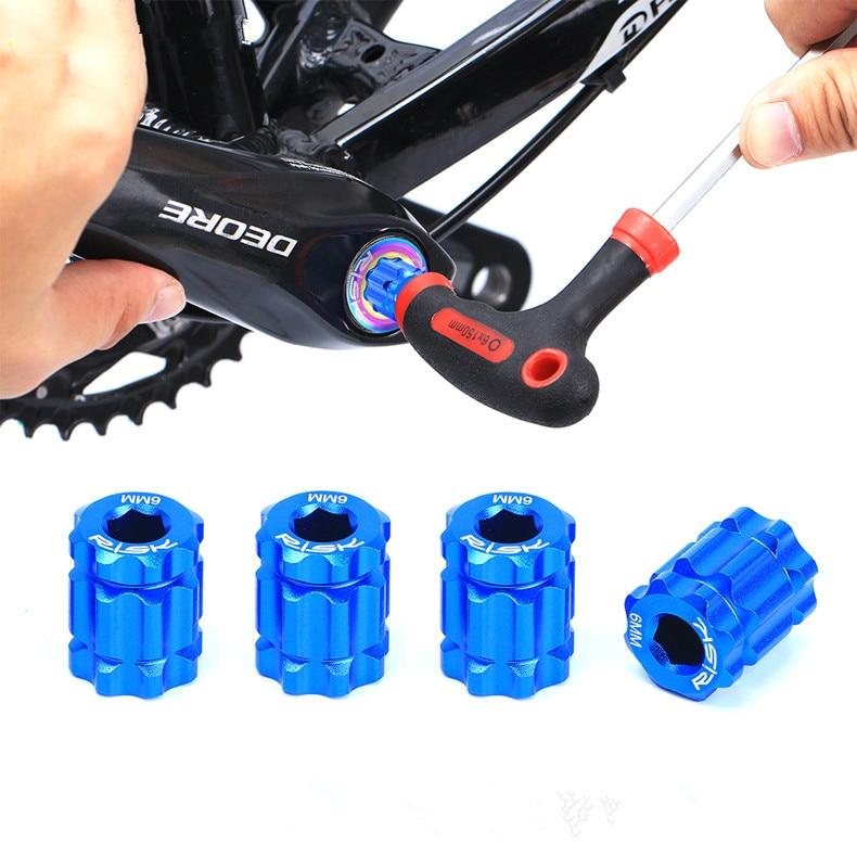 Mtb bicicleta manivela parafusos chave de alumínio 7075 cnc 6 mm ameixa ferramentas para shimano xt m8000 pedaleira da bicicleta parafusos de bloqueio novo quente