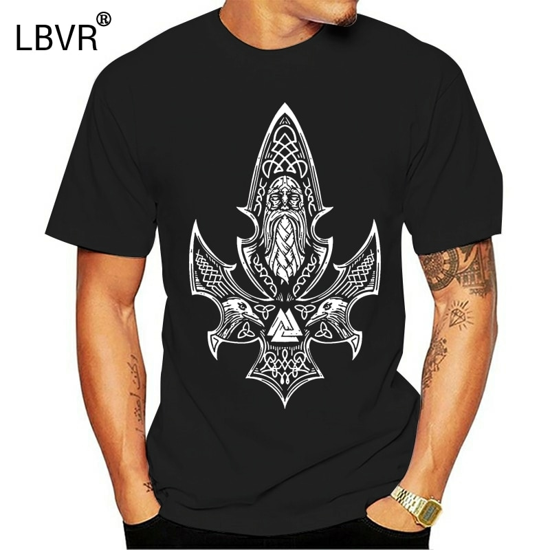 Gungnir Odins Spear Viking Runes Ravens T Shirt Fashion Fit Personalized Natural Crew Neck Letters Summer Cotton Shirt