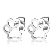Stainless Steel Jewelry Cutting Dog Paw Print Earrings Female DIY Fashion Earrings Gold Puppy Paw St