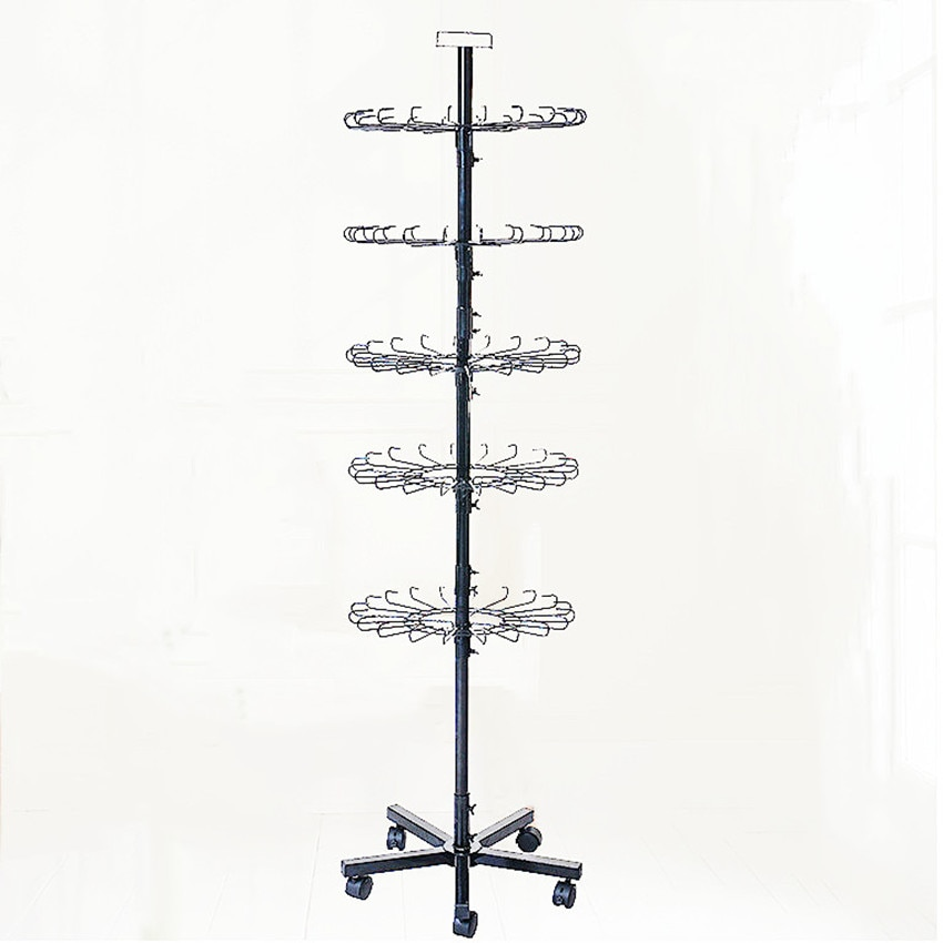 Metal Hanging Shelf Hook Display Holder Stand Turnable for Small Commodity Accessories with 5 Pulleys H180cm 1 Set