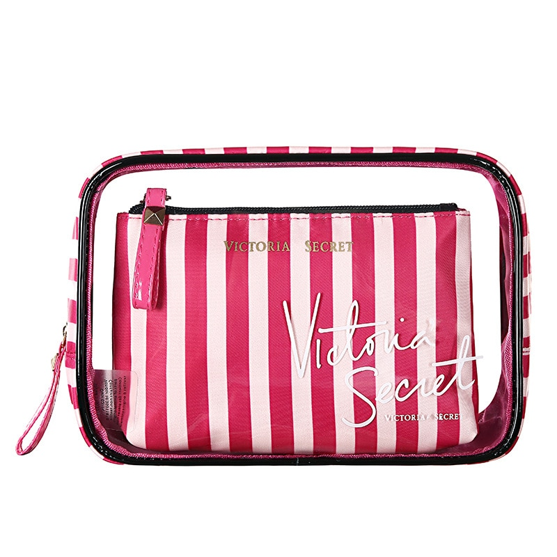 the new portable pvc cosmetic bag 3 piece set outdoor travel bag fashion transparent storage bag waterproof wash bag The New Portable PVC Cosmetic Bag 3-Piece Set Outdoor Travel Bag Waterproof Wash Bag Victoria's Secret Transparent Storage Bag