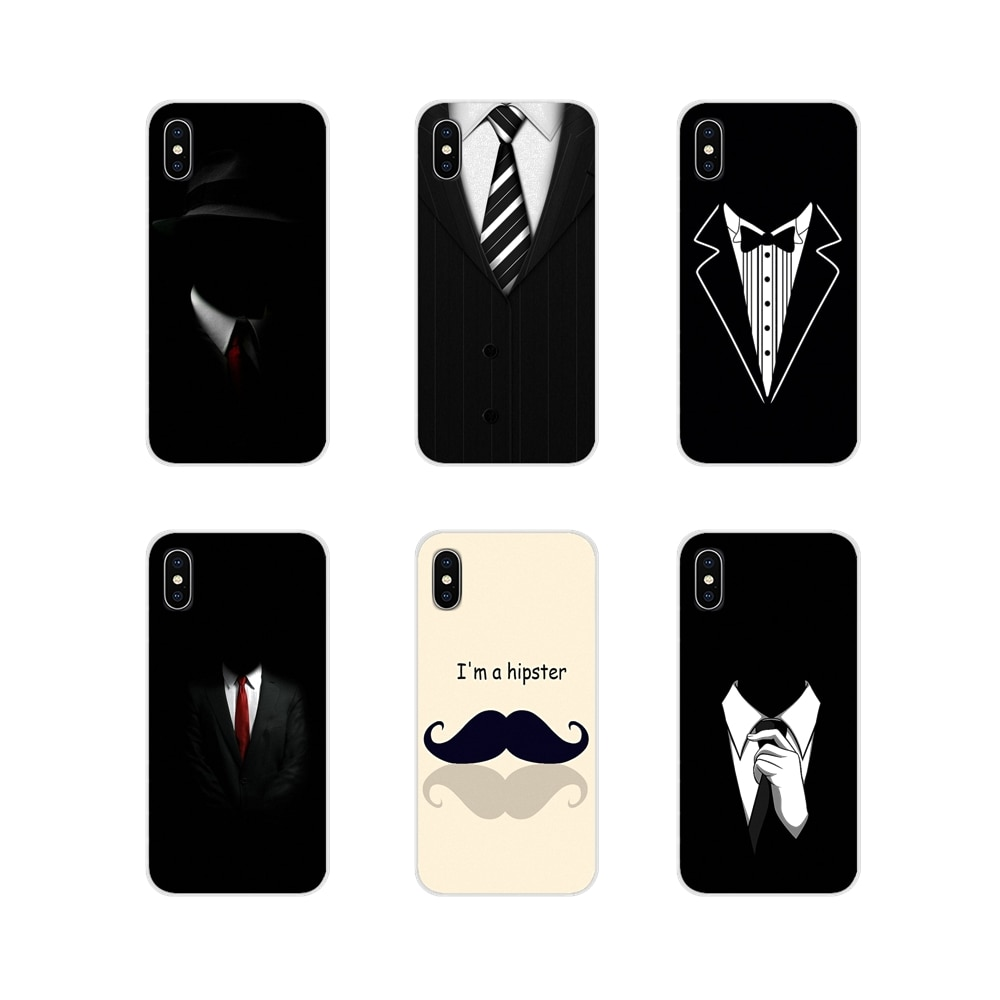 Para LG G3 G4 Mini G5 G6 G7 Q6 Q7 Q8 Q9 V10 V20 V30 X Power 2 3 K10 K4 K8 2017 transparente bolso suave caso de hombre de camisa de traje de corbata líneas