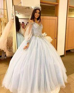 Sky Blue Long Sleeve Ball Gown Quinceanera Dresses Beaded Cinderella Sweet 16 Dress Gorgeous Vestidos De 15 Anos 2021