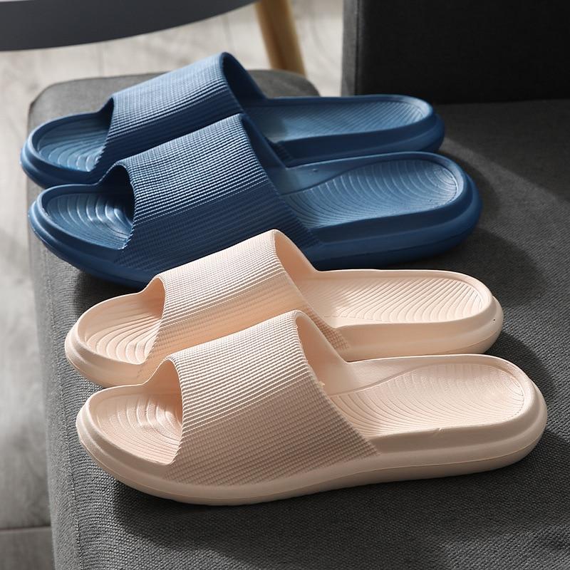 Домашние тапочки на платформе из ЭВА, летние бесшумные домашние Тапочки для ванной, женские нескользящие домашние Сверхмягкие тапки для ва...