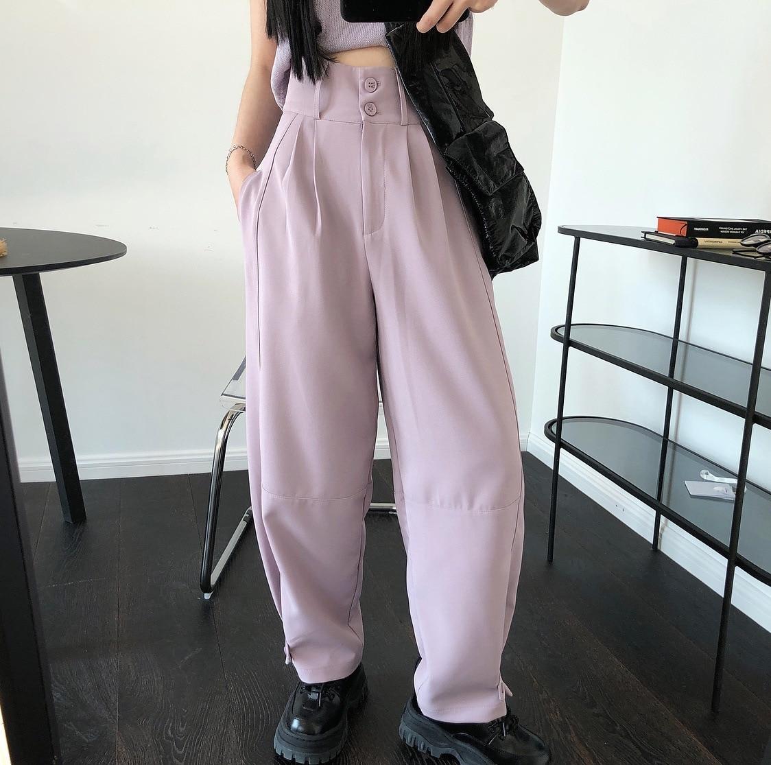 Женские длинные брюки с высокой талией, повседневные свободные брюки-карго на пуговицах, уличная одежда, лето 2020