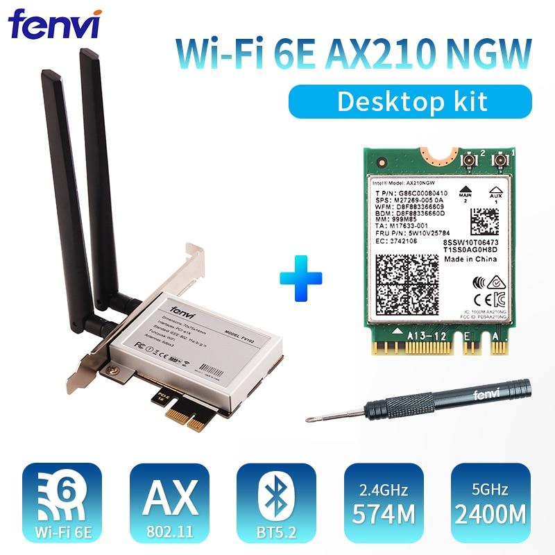 شبكة wi-fi 6E AX210 PCIe لاسلكية ، 5374 ميجابت في الثانية ، AX210NGW ، wi-fi ، Bluetooth 5.2 ، بطاقة NGFF M.2 BT5.2 Wlan 802.11ax ، Windows 10