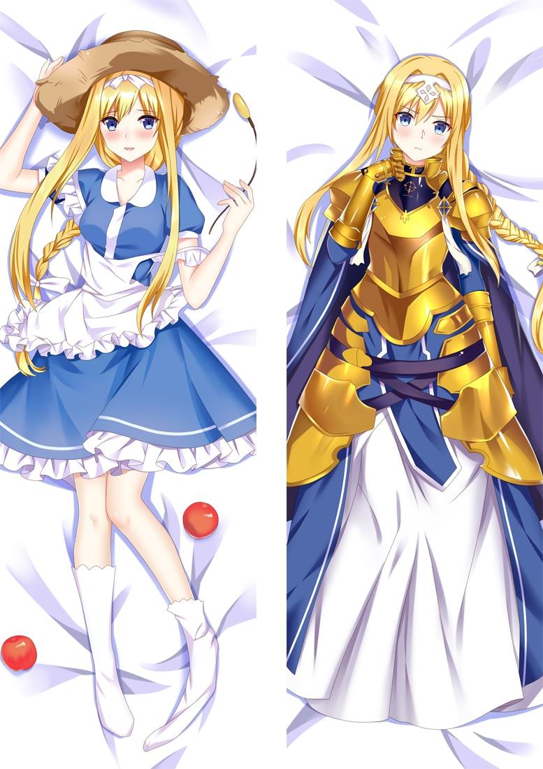Funda de almohada personalizada chica 50x160 Cosplay Anime Dakimakura Waifu, funda de almohada decorativa de Manga con diseño de espada en línea