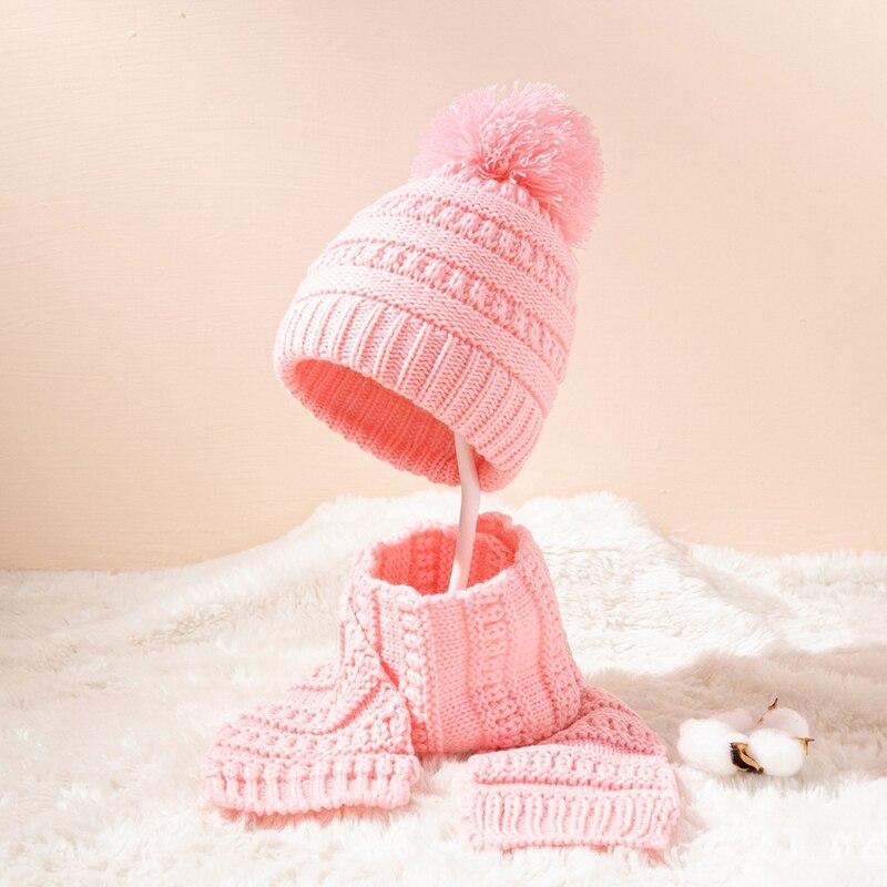 Детский комплект из шапки и шарфа, однотонные жаккардовые однотонные шерстяные шапки с помпоном, ветрозащитные теплые шапки для малышей, ун...