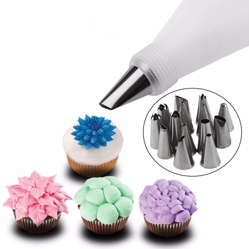 16 Uds accesorios de cocina de silicona, boquillas para glaseado, bolsa de crema pastelera con 14 Consejos para manualidades de decoración de pasteles de boquillas de acero inoxidable
