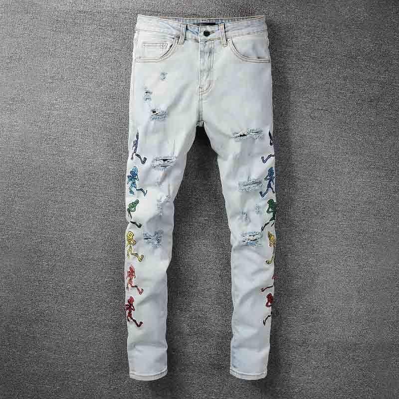 Mcikkny-بنطلون جينز ممزق للرجال ، ملابس الشارع ، الهيب هوب ، التطريز