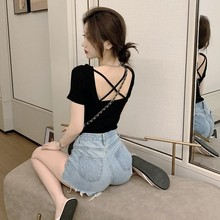 Sexy Beauty Back Cross Hollow-out Short-Sleeved T-shirt 2021 Spring and Summer Slim-Fit Short Slim F