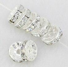 Xg24 10mm DHL gratuit + cadeau blanc strass Rondelle entretoise, argent plaqué bricolage perles en vrac ajustement bracelet à breloques