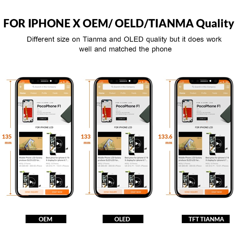Timeway Flash Sale Grade For iPhone X LCD Display For Tianma Touch Screen With Digitizer Replacement Assembly Parts Black enlarge
