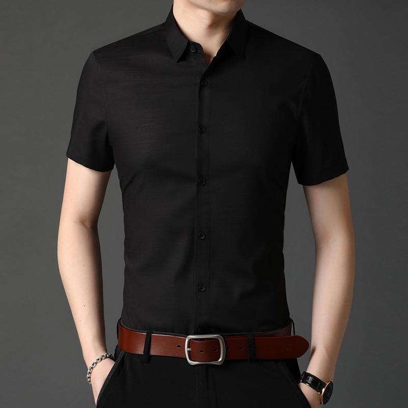 2021 جديد الصيف التلبيب قصيرة الأكمام قميص الرجال نصف كم قمصان رسمية zde1575
