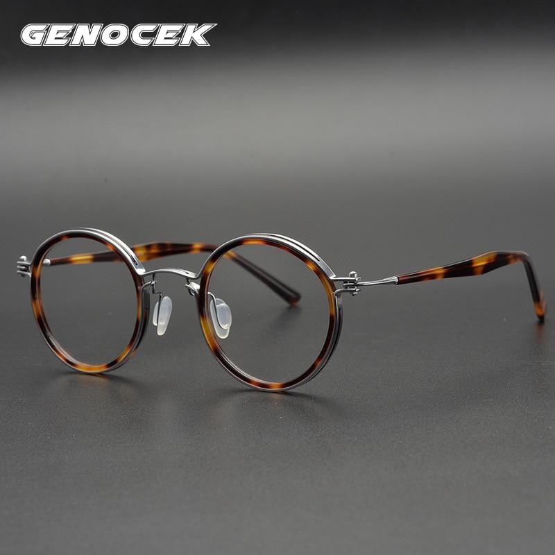 إطار نظارات مستديرة مصنوعة يدويًا من الأسيتات للرجال والنساء ، ماركة فاخرة ، عدسات وصفة طبية ريترو لقصر النظر