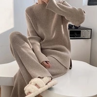 autumn winter korean fashion casual tracksuit women jumpers pullover sweater tops wide leg pant suits knitted 2 piece set