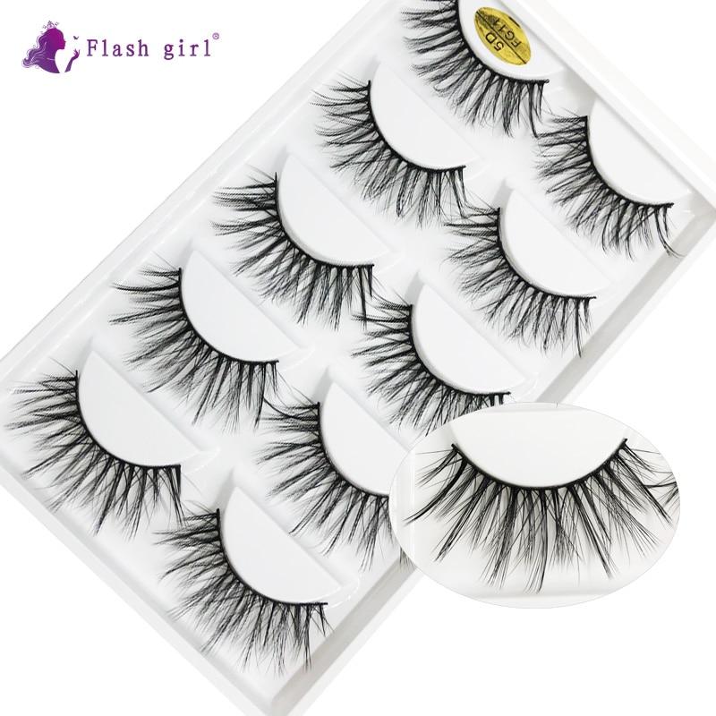 New Arrival 5 Pairs 5D Mink Eyelashes Natural Long Wispy Fake Eyelash Handmade Cruelty Free Eye Lash
