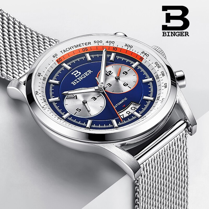 Switzerland Brand BINGER Automatic Watch for Men Stainless Steel Wrist watches Luxury Mechanical Clock relogio masculino 2019