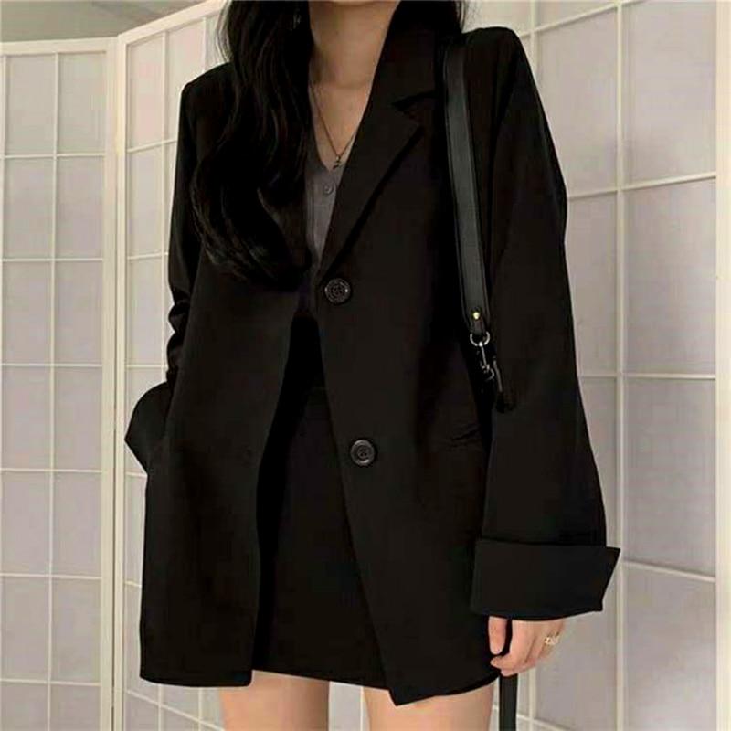 Fashion 2021 Spring Blazer Women Single Breasted Oversized Suits Jacket Office Ladies Loose Long Sleeve Blazer Black