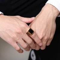 new trendy geometric black crystal inlaid ring mens ring metal gold plated crystal ring accessories party jewelry