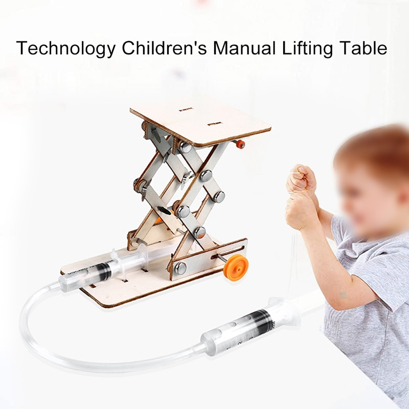Kids DIY Science Toys Educational Scientific Experiment Kit Hydraulic Lift Table Model Physics School STEM Projects kids diy doodle robot toy children experiment science projects educational model experiments scientific principles of toys